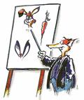 Illustration Fuchs mit Flipchart und Abbildung von Hasenohren und Mohrrübe - Aus einer Marketing-Geschichte - copyright by Peter Grimm - www.customing.de