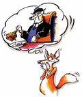 Illustration Fuchs mit Denkblase und Abbildung eines dicken, schlemmendem Fuchses - Füchsischer Marketing-Tag - copyright by Peter Grimm